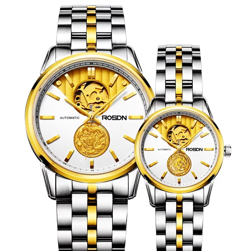 ROSDN-ساعات نسائية ، مجوهرات يابانية فاخرة ، آلية ، 24 قيراط ، هيكل عظمي ذهبي ، ياقوت 50 متر ، مقاومة للماء ، للأزواج ، R2100W