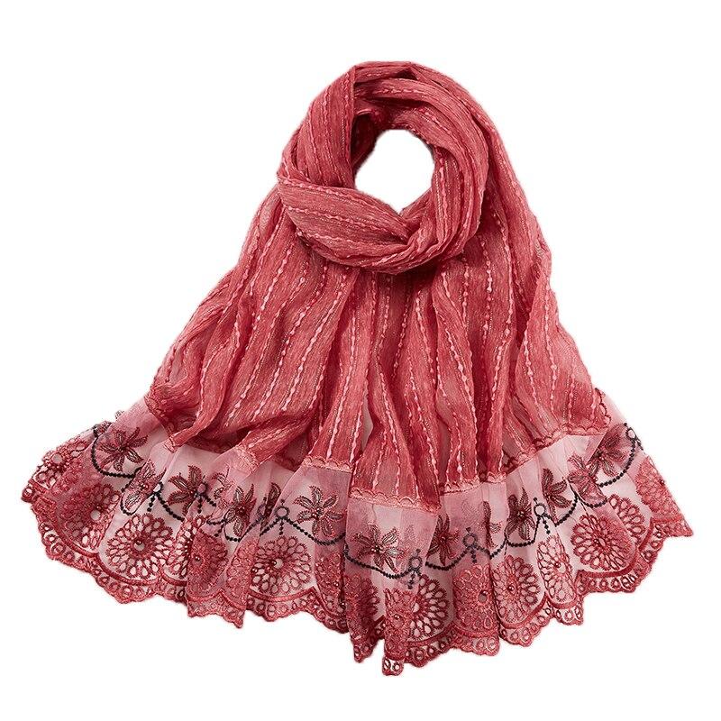 Nova moda feminina laço cachecol hijab bordado floral e shinny praia cachecol com pérola longo muçulmano envoltório cachecóis/xales