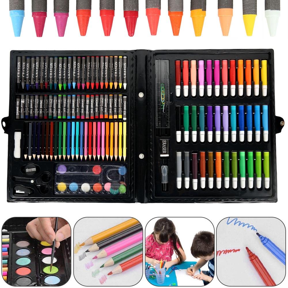 150 pièces/ensemble enfants Art ensembles enfants Kit de dessin couleur de leau stylo Crayon huile Pastel peinture outil fournitures papeterie ensemble enfants cadeau