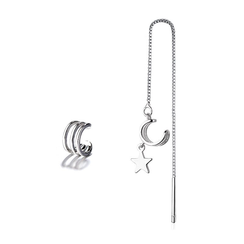 Personality Style Silver Ear Clip Long Chain Earrings 925 Star Pendant Ear Cuff Clip On Earring For Fashion Women Girl Jewelry  - buy with discount