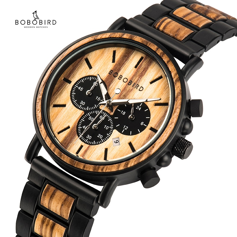BOBO BIRD Wooden Watch Men erkek kol saati Luxury Stylish Wood Timepieces Chronograph Military Quart
