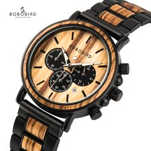 BOBO BIRD Wooden Watch Men erkek kol saati Luxury Stylish Wood Timepieces Chronograph Military Quart