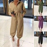 leopard print jumpsuit female retro long sleeved button casual pants overalls women elegant plus size jumpsuits spring summer