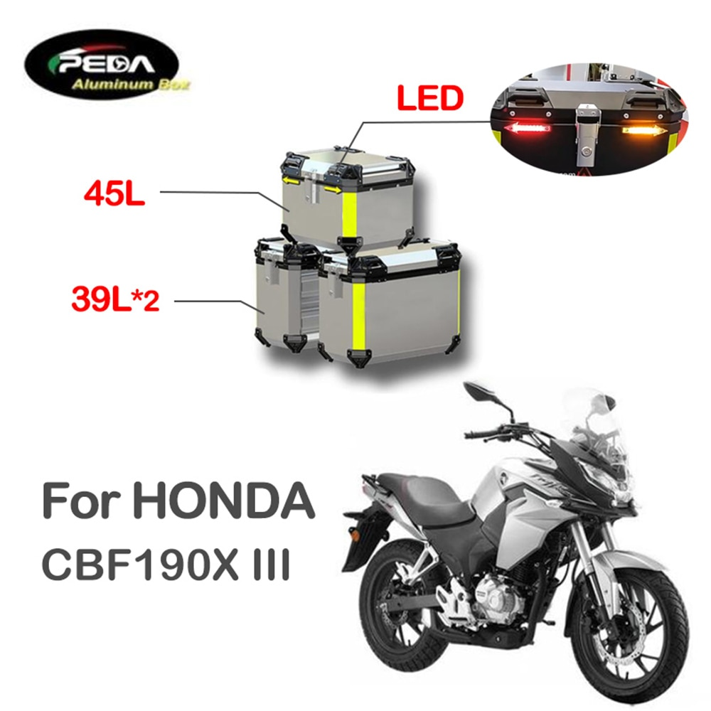 V5-19 دراجة نارية الألومنيوم صندوق مع LED Winker 45L المزدوج 39L Panniers الجانب العلوي الحقيبة الجانبية لهوندا CBF190X III الجذع الخلفي