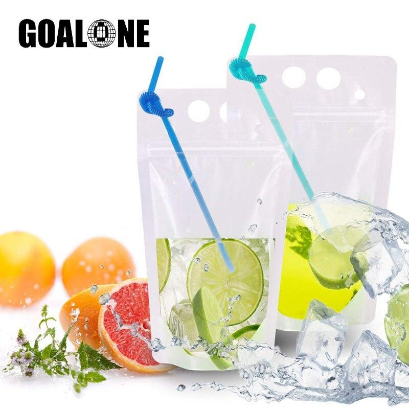 أكياس شراب 50/100 قطعة من goonly مع أكياس شراب الثلج القابلة لإعادة الاستخدام مع شفاطات للشرب حزمة أكياس عصير قابلة لإعادة الاستخدام