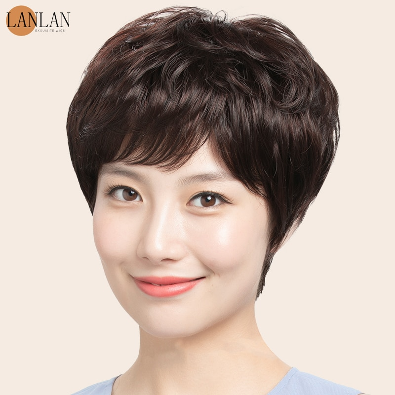 LANLAN wig female short hair short curly hair human hair middle-aged and old natural ladies hairstyle wig