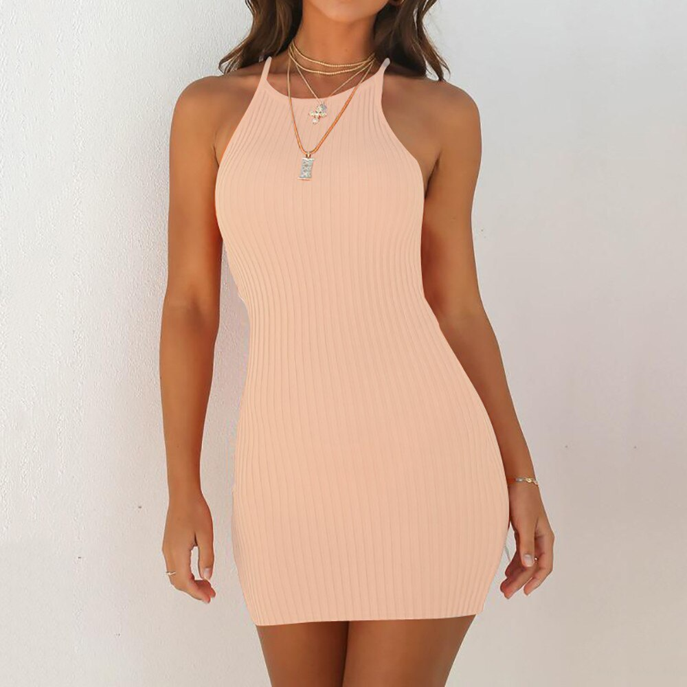 Vestido corto veraniego sin mangas con tirantes para Mujer, minivestido veraniego para fiesta, a la moda