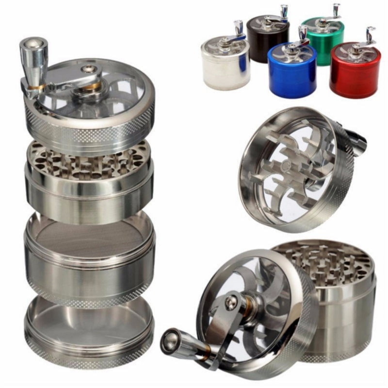 Picadora de aluminio para hierbas aromáticas y tabaco de 4 capas, trituradora de humo, trituradora manual, moledora, polinizador, accesorios para fumar