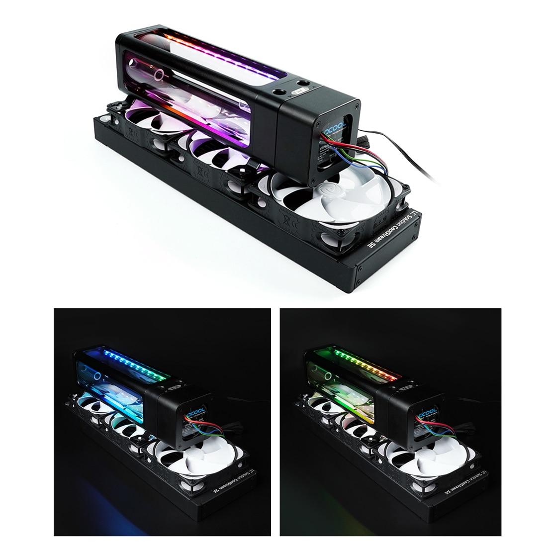 IceMan برودة DX5-240 خزان المياه الزجاج مع تأثيرات الضوء 240 مللي متر ومضخة D5-أسود