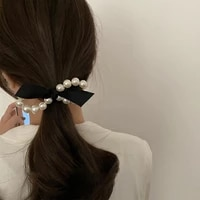 black peal elegant head rope for girls korea hair bands vintage headband non slip high elasticity fashion bow hair tie