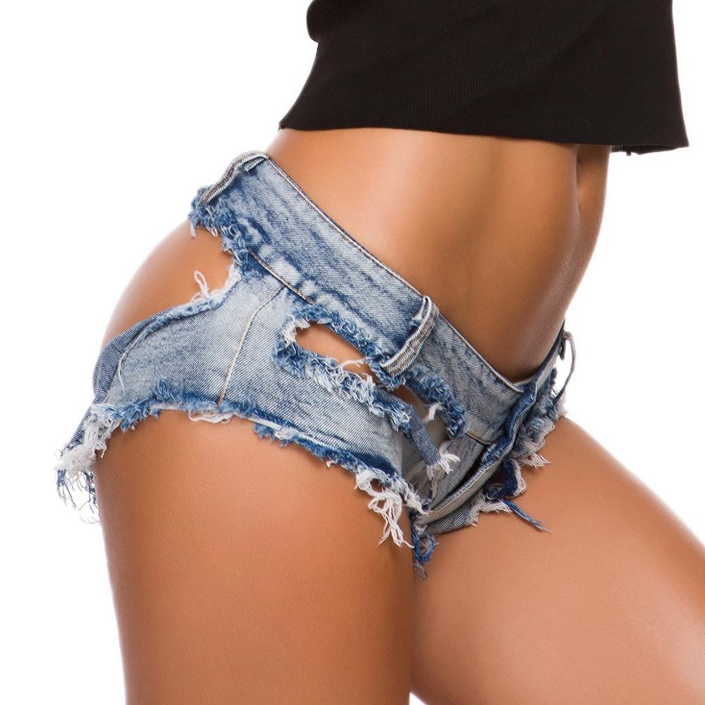 S-XL زائد حجم النساء الساخنة مثير هول مخدوش بيكيني قصيرة الجينز شرابة g-سلسلة بحر الغنيمة السراويل ثونغ مصغرة برمودا