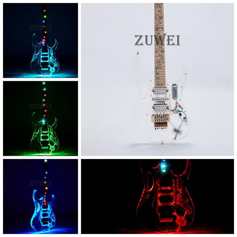 7V guitare électrique lumière LED Flash Style couleur acrylique corps or matériel