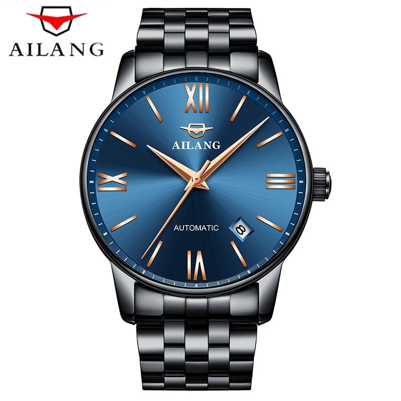AILANG New Men's Business 30M Deep Waterproof Hours Stainless Steel Strap Sapphire Glass Automatic Mechanical Watches 2603