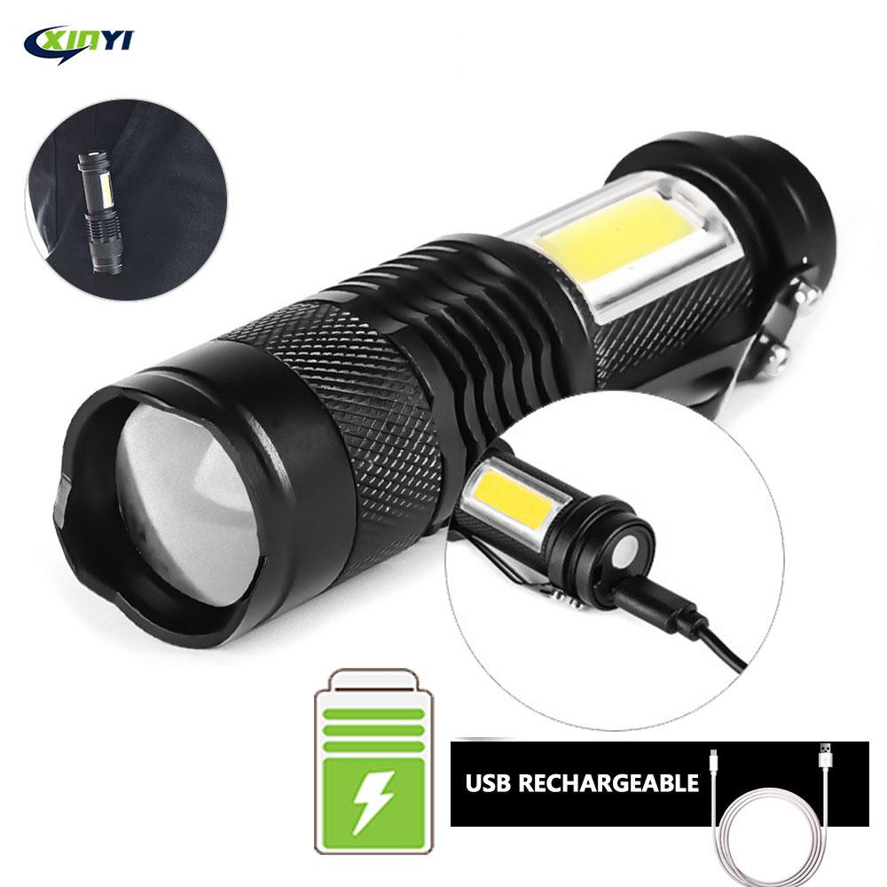 Мини USB Перезаряжаемый светодиодный фонарик для использования XPE + COB лампа с бусинами 100 метров освещение дальность использования d для прик...