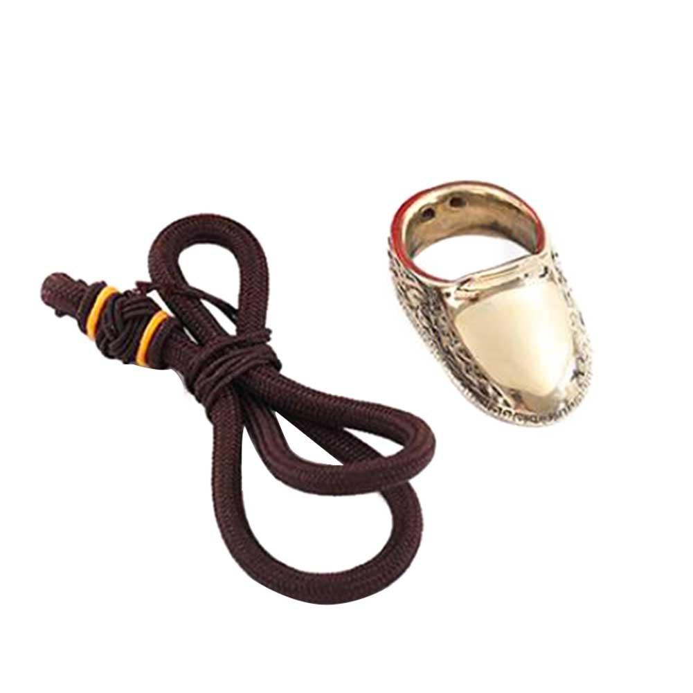 Anillo protector práctico ergonómico hecho a mano con arco dedo protector flecha pulgar deportes al aire libre caza latón con accesorios de cuerda