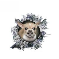 13cm12cm 1 pcs 3d growling chihuahua decal glass slag decal reflective stickers waterproof car styling bird decals