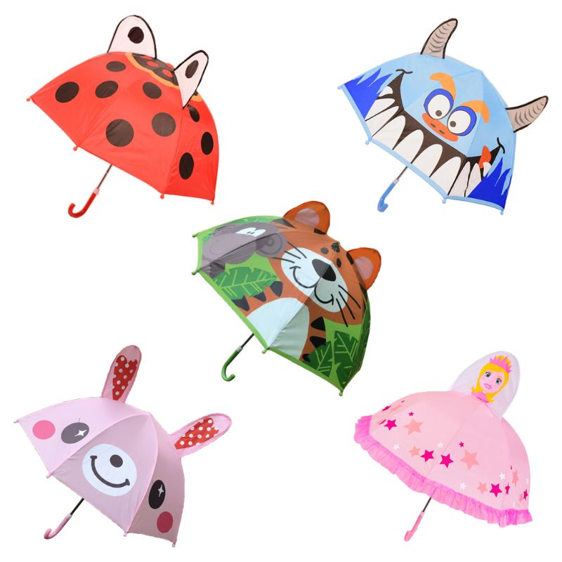 Children Umbrella with Animal Ears Boys Girls Cartoon Long Handle Lightweight School Birthday Gift