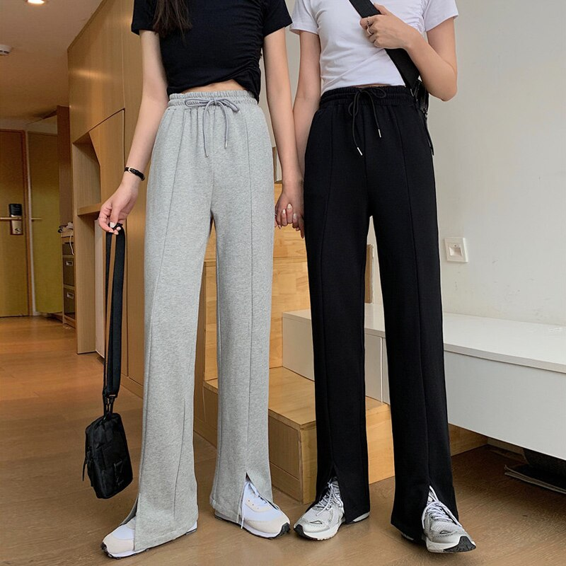 Slit Casual Pants Summer High Waist Drooping Wide-Leg Pants Women's Spring and Autumn Slit Pants Sma