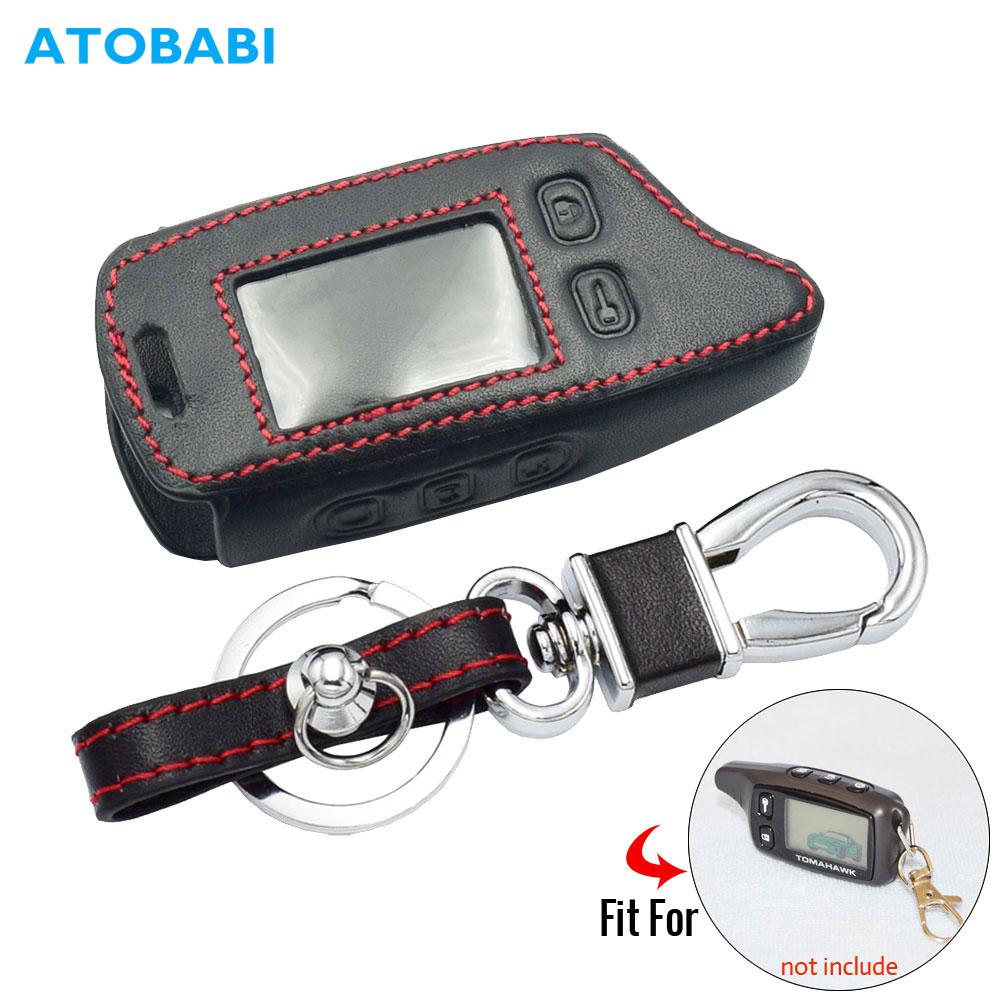 Caso chave de couro para tomahawk tw9010 tw9020 tw9030 2 way carro alarme tw 9010 9030 lcd controle remoto fob capa chaveiro protetor