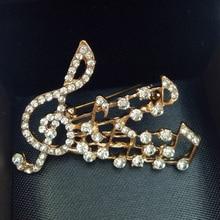 Mode or couleur Note de musique broche broche pour les femmes Zircon mosaïque cristal autrichien blanc jaune