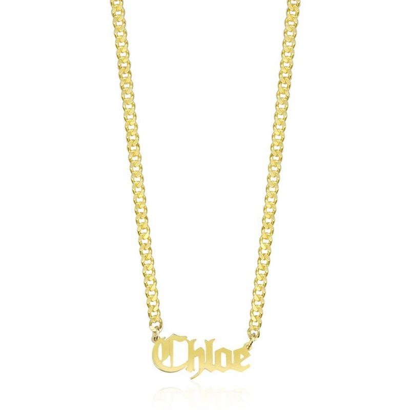 Sipuris Personalized Custom Name Necklace Pendant Gold Color Cuban Chain Custom Nameplate Necklaces for Women Men Jewelry  Gifts hip hop jewelry cuban chain customized nameplate necklaces for women men punk gold tone solid personalized custom name necklace