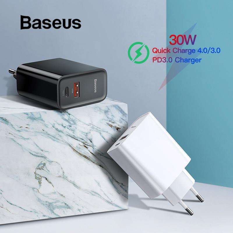 Baseus Quick Charge 4,0 3,0 USB Ladegerät Typ C QC 4,0 3,0 Ladegerät Für iPhone 11 Pro 30W PD 3,0 schnelle Ladegerät Für Samsung s10 plus