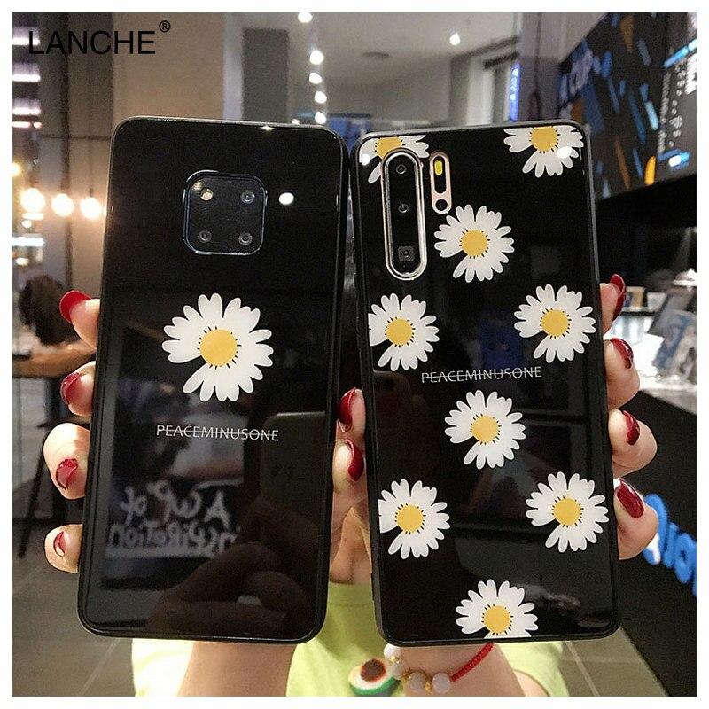 LANCHE Cute daisy Glass Phone Case For Huawei P20 P30 Mate 20 10 Lite Pro Case On Honor 10 Lite 9 V20 8X P smart plus Nova 3 3i