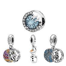 Freeze Nokk Winter Crystal Charms Fit Original Pandora Bracelets for Women Beads Anna Princess Pendant Jewelry Making Gifts 2020
