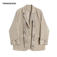 silk scarf suit jacket blazer notched single breasted long sleeve blazers 2021 new chic casual female clothing