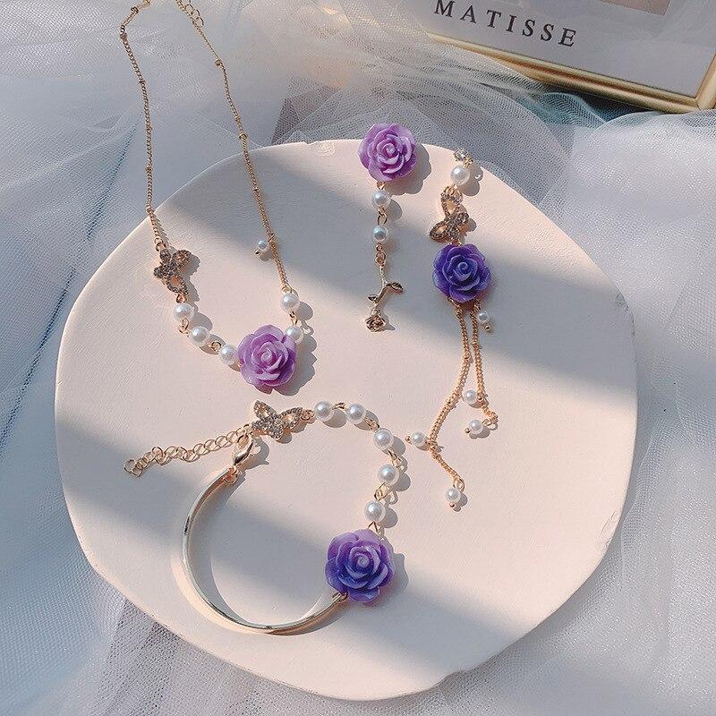2020 coreano nuevo de moda resina púrpura Flor Mariposa pendientes de collar de pulseras juegos de joyas para mujer playa Bijoux