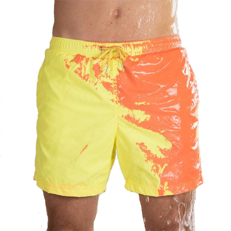 Magical Change Color Beach Shorts Summer Men Swimming Trunks Swimwear Swimsuit Quick Dry bathing shorts Pant Drop shipping