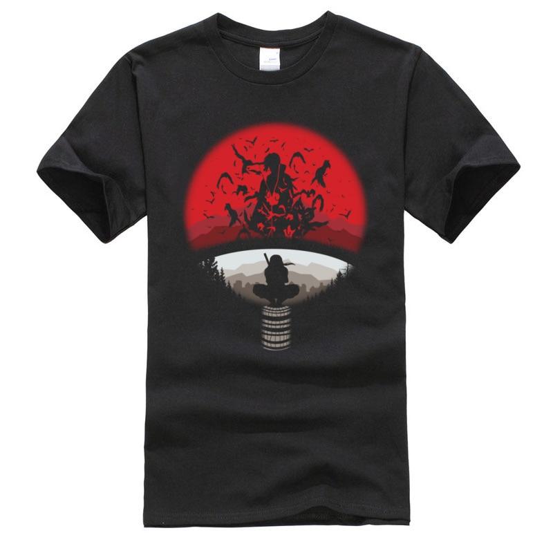 Naruto Itachi Clan símbolo Anime camisetas Sasuke Uchiha Boruto Uzumaki Boku No Hero Academia estampado de juego camisetas de algodón
