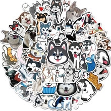 Husky – autocollants dessin animé, 10/50 pièces, animaux mignons, chien, pour Moto, valise, Skateboard, téléphone portable, Cool, Skateboard