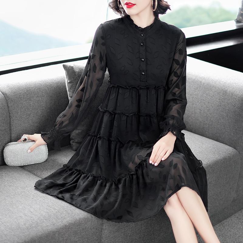 Fashion Large Size Mesh Dress Woman Casual O-neck Ladies Elegant Chiffon Plus Size Dresses Vestidos Woman Clothing 4XL