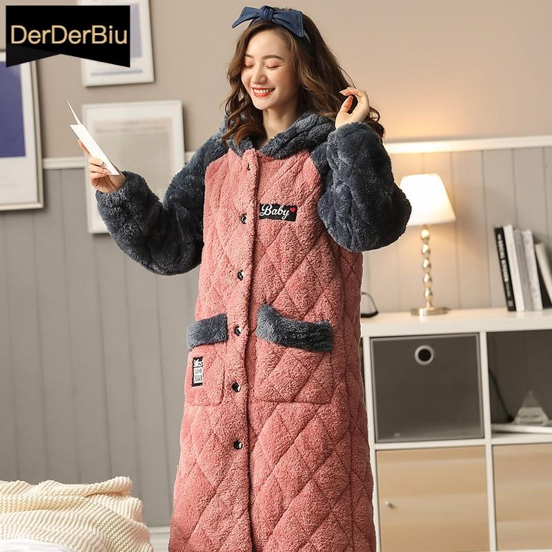 الشتاء السيدات Bathrobe سميكة الفانيلا ملابس خاصة 3-layer مبطن ثوب النوم حجم كبير مقنعين رداء المرأة ملابس المنزل ملابس النوم