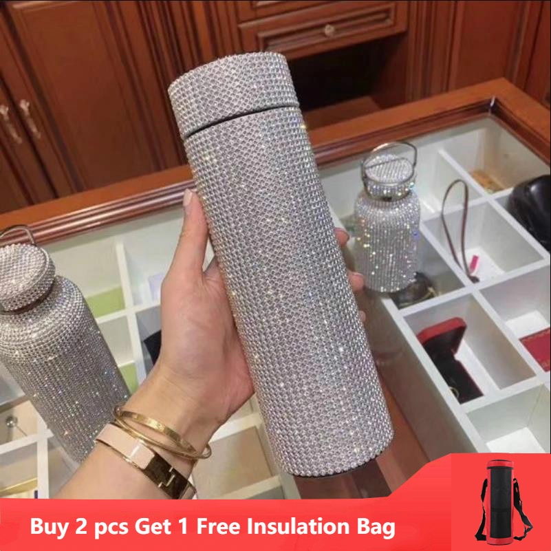 Creative Diamond Thermos Bottle Water Bottle Stainless Steel Smart Temperature Display Vacuum Flask Mug Gift for Men Women