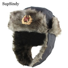 SupSindy-chapeau de bombardier en fausse fourrure   Badge soviétique Ushanka, chapeaux dhiver chauds pour hommes et femmes, chapeau militaire en fausse fourrure CCCP, chapeaux de neige pour lextérieur en russie