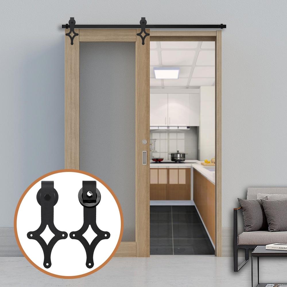 Gifsin 4-9.6FT оборудование для раздвижной двери сарая комплект черный ромбовидный формы вешалки для одной двери шкаф трек набор