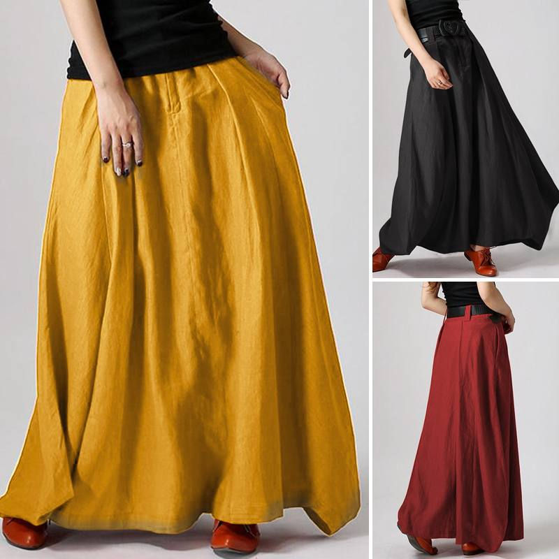 Female Maxi Long Skirt ZANZEA Summer Zipper Skirts Women Elegant Solid Skirts Bohemian Beach Skirt Jupe Faldas Saia Oversized beach maxi long skirt zanzea summer zipper skirts women elegant solid skirts bohemian skirt jupe female faldas saia oversized