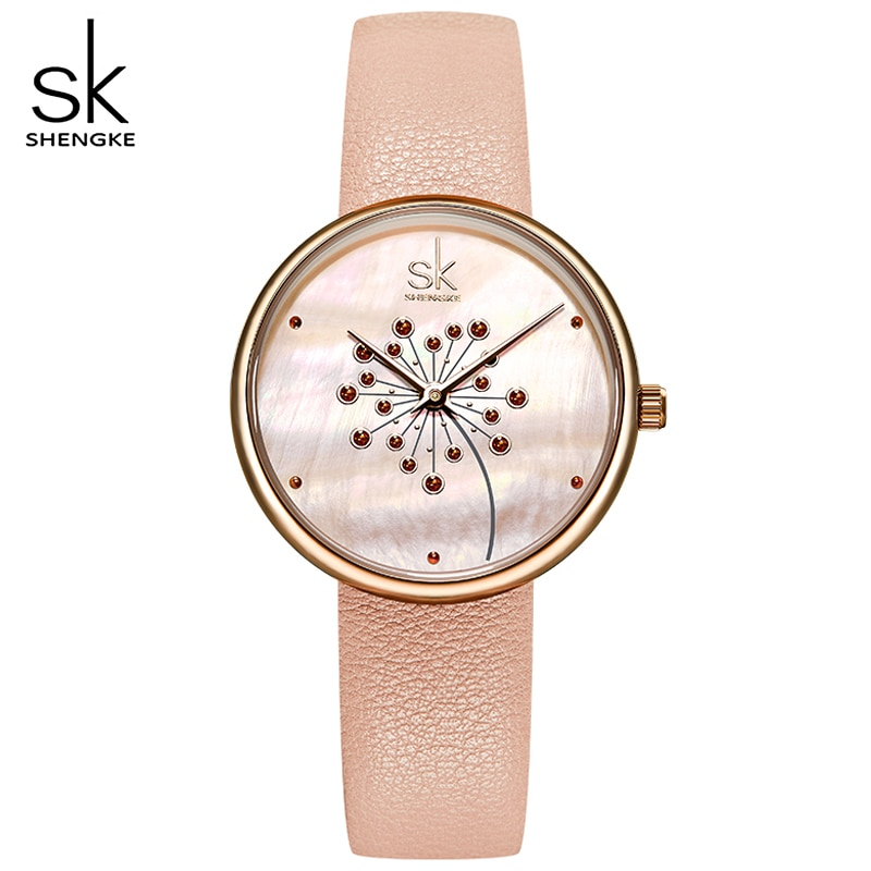 Shengke Women Watches Fashion Casual 30M Waterproof Wristwatch Ultra-thin Quartz Watches Lady Leather Strap Watch Montre Femme enlarge