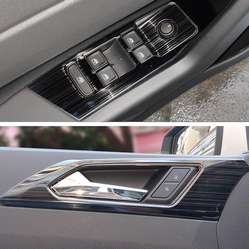 Para volkswagen polo 2019 2020 capa adesiva de painel, controle de janelas interiores, para porta, cabo e tigela, em aço inoxidável