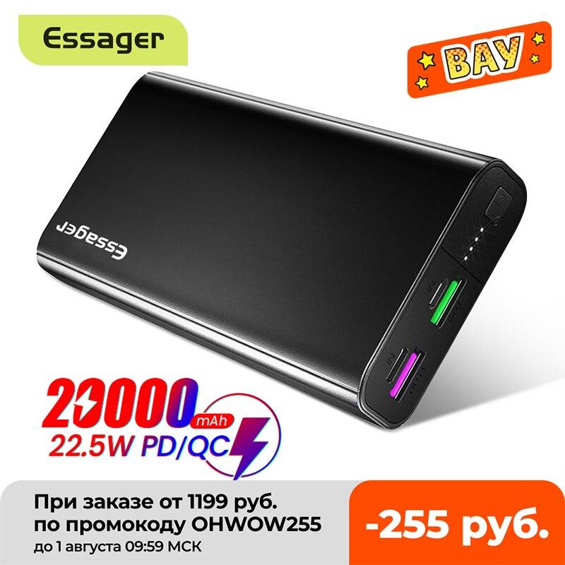 باور بانك من Essager بسعة 20000 مللي أمبير في الساعة بمنفذ USB من النوع C PD QC 3.0 باور بانك محمول شاحن بطارية خارجي لهاتف شاومي mi 20000 مللي أمبير في الساعة