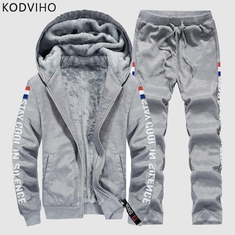 Chándal Casual para hombre de talla grande, ropa deportiva, conjunto de chándal de 2 piezas sólido cálido para hombre, sudaderas con capucha de otoño invierno + chándal de chándal 9XL