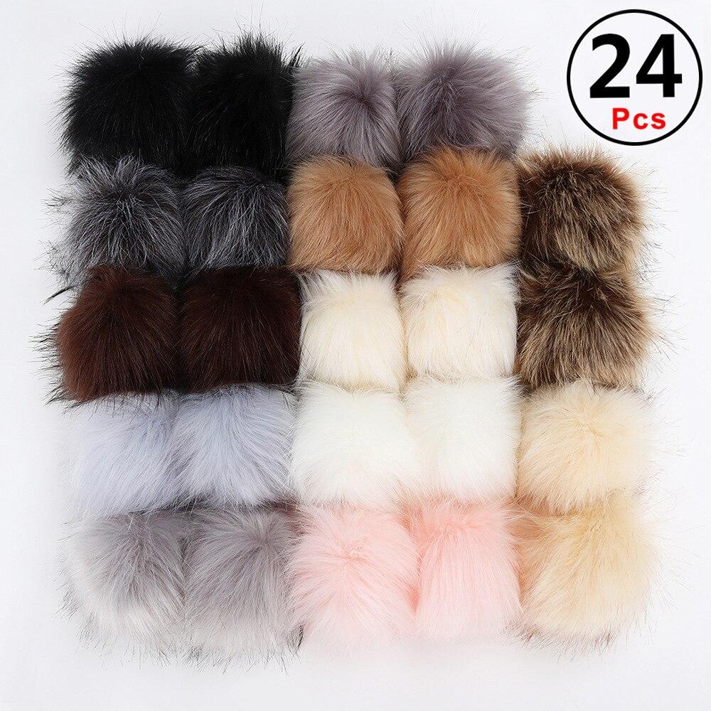 16/18/20/24Pcs DIY Hats Accessories False Hairball Pom Pom Handmade Artificial Ball Faux Rabbit Fur PomPom