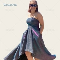 high low shiny prom dresses 2021 strapless evening dress for party lace up back ankle length a line evening gown with pockets