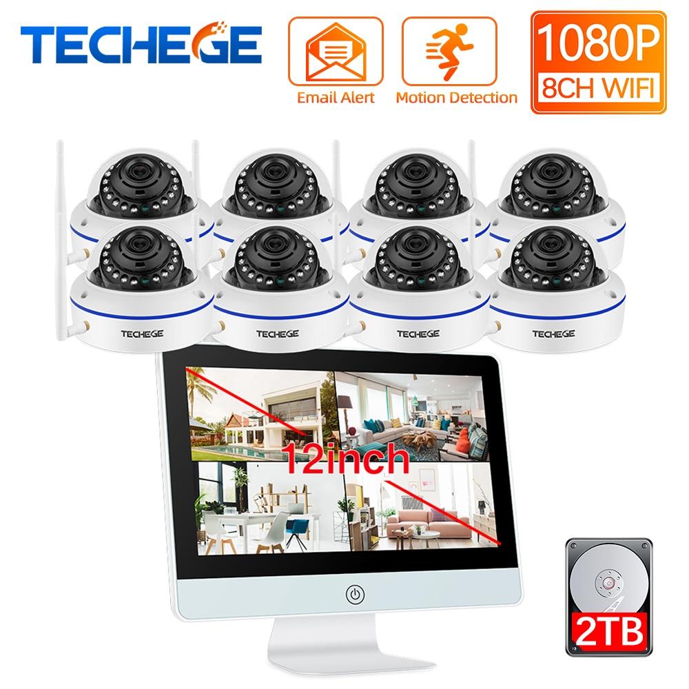 Techege 8ch kit nvr sem fio, 12 polegadas, lcd, 1080p hd, à prova d água, câmera de segurança, ip, wi-fi, cctv, sistema de movimento par automático de detecção