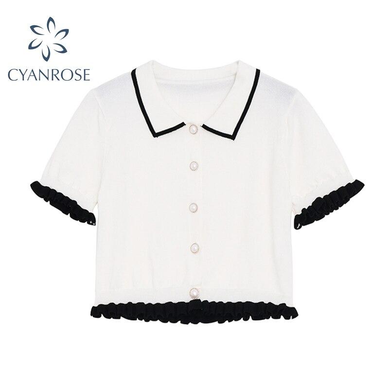 2021 White Cardigan Crop Blouses Lapel Elegant Short Sleeve Rok Shirts Summer Stylish Work Office La