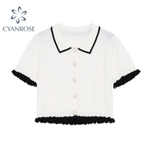 2021 White Cardigan Crop Blouses Lapel Elegant Short Sleeve Rok Shirts Summer Stylish Work Office La