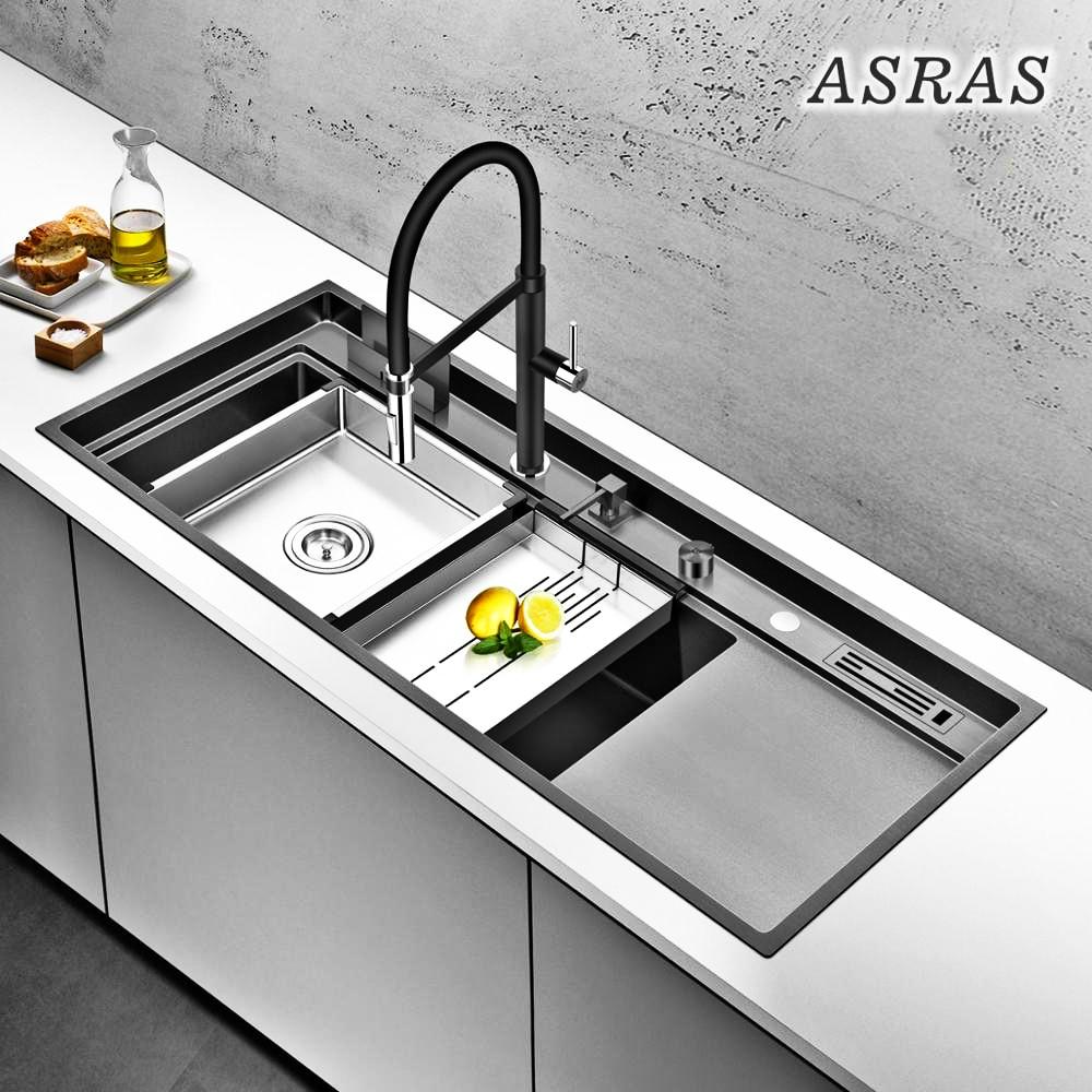 حوض مطبخ كبير من الفولاذ المقاوم للصدأ Asras11850NK ، حوض مطبخ كبير مع صنبور وحامل سكاكين ولوحة تصريف سميكة 304 من الفولاذ المقاوم للصدأ