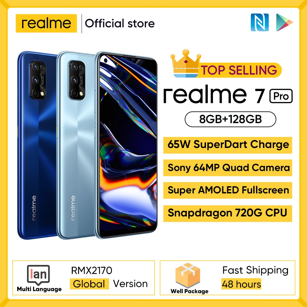 Global Version realme 7 Pro Smartphone 65W Fast Charge 64MP Quad Camera 6.4 inch Display Snapgragon 720G Game Cellphone 4500mAh
